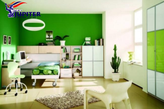 Màu xanh lá cây mang lại không gian tươi mát